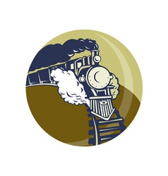 Steam train or locomotive coming up vector