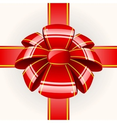 Big red bow with ribbon vector image