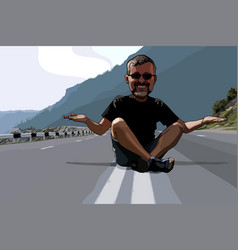 cartoon funny man sitting on the roadway vector image vector image