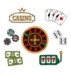 Casino and gambling icons set vector image vector image