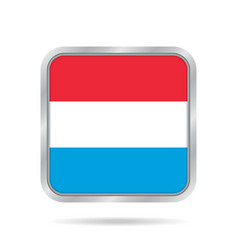 Flag of luxembourg metallic gray square button vector