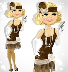 retro glamour gangster girl vector image