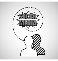 silhouette head connected social media vector image vector image