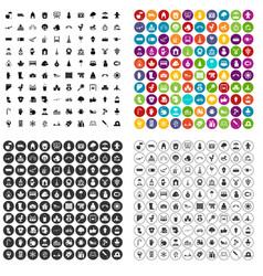 100 kindergarten icons set variant vector