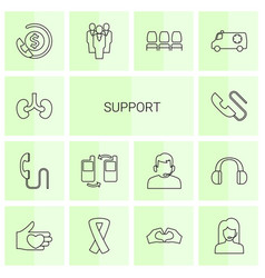 14 support icons vector