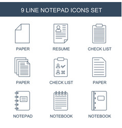 9 notepad icons vector image