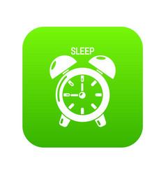 alarm clock icon green vector image