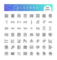Algebra line icons set vector