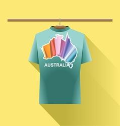 Aqua shirt with colored australia logo country vector