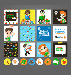 back to school printable set with pupils vector image