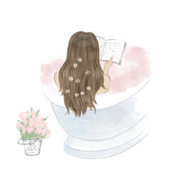 Beautiful girl taking a bath and reading a book vector