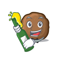 Beer meatball mascot cartoon style vector