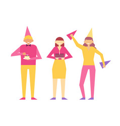 Birthday party set of people having fun celebrate vector