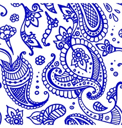 Blue line paisley seamless pattern hand drawn vector image
