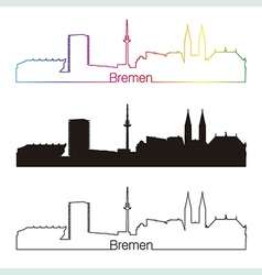 Bremen skyline linear style with rainbow vector