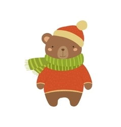 Brown Bear In Red Sweater Childish vector image
