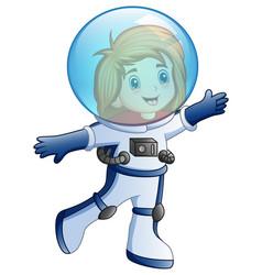 cartoon little girl in astronaut costume vector image