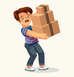 Cartoon man with cardboard box colorful poster vector