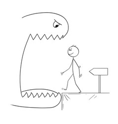 Cartoon of smiling man walking in to open mouth vector