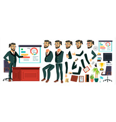 Ceo business man character working bearded vector