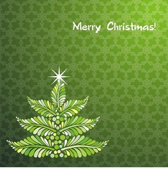 Christmas tree on graceful green background vector
