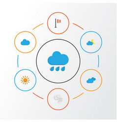 Climate flat icons set collection of crescent vector