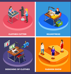 Clothes factory 4 isometric icons vector