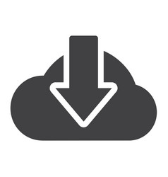 cloud download solid icon seo and website vector image