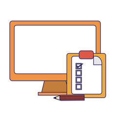 computer and clipboard tasks blue lines vector image