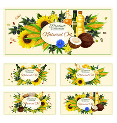 Cooking oil of olive ad sunflower seeds vector