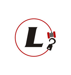 crane hook towing letter l vector image