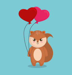 Cute and little chipmunk with hearts floating vector