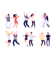 dancing couples happy persons dance salsa tango vector image