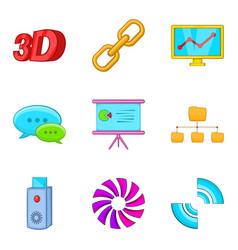 Dialog window icons set cartoon style vector