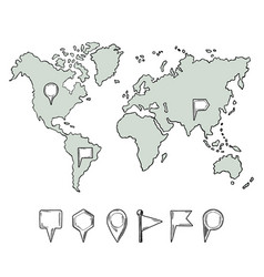 Doodle of world map with hand drawn vector
