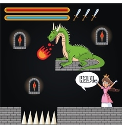 Dragon princess and videogame design vector
