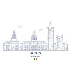 dublin city skyline vector image