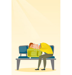 Exhausted man sleeping on suitcase at the airport vector
