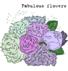 fashion sketch of fabulous purple and pink flowers vector image