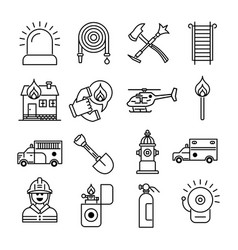 firefighter and fire department outline icons vector image