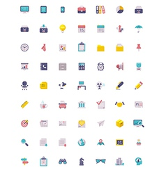 Flat business and office icon set vector