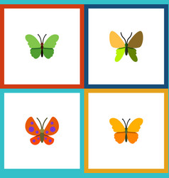 Flat butterfly set of moth milkweed butterfly vector