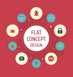 Flat icons clue safe parasol and other vector