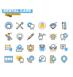 flat line colorful dental services icons set vector image