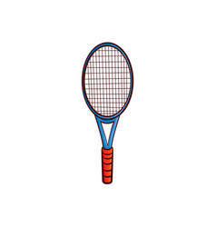 Flat sketch tennis racquet isolated vector