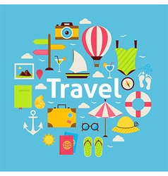 Flat Style Beach Travel Concept vector