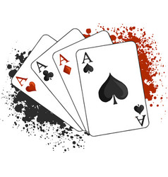 four aces poker playing cards on white vector image