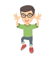 funny caucasian boy in glasses teasing with hands vector image