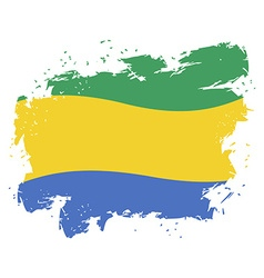 Gabon flag grunge style on white background Brush vector