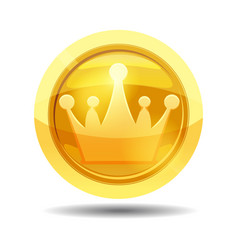 game coin with crown game interface gold vector image